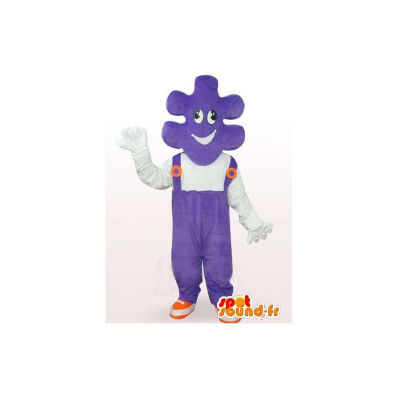 Mascotte de puzzle avec salopette violette et t-shirt blanc - MASFR00757 - Mascottes d'objets