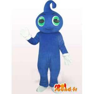 Blaue Wassertropfen-Maskottchen mit grünen Augen und weißen Handschuhen