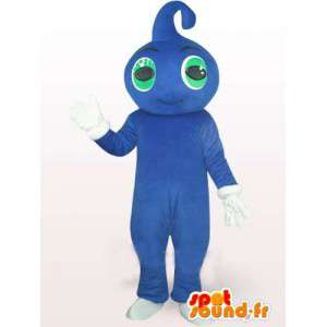 Blue water drop mascot with green eyes and white gloves