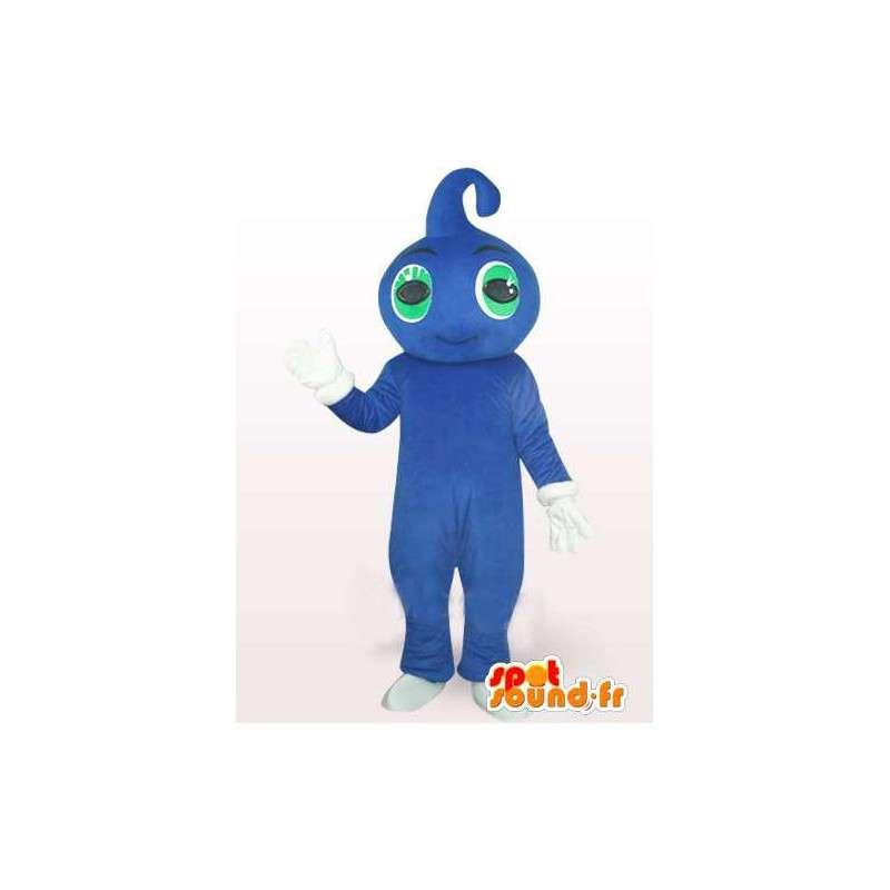 Blaue Wassertropfen-Maskottchen mit grünen Augen und weißen Handschuhen - MASFR00758 - Maskottchen nicht klassifizierte