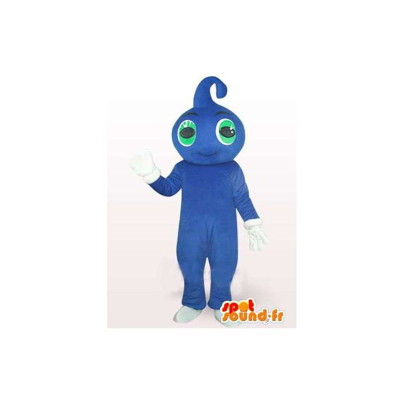 Blue water drop mascot with green eyes and white gloves - MASFR00758 - Mascots unclassified