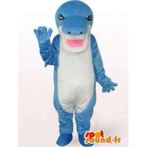 Mascot stegosaurus blauw en wit met een boze blik