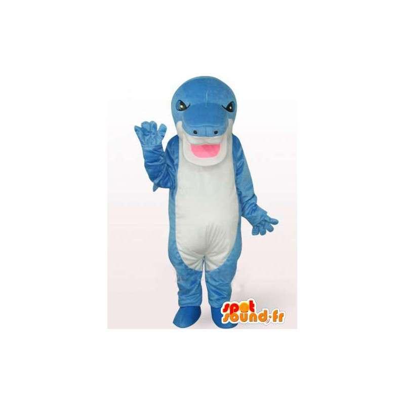 Mascot stegosaurus blått og hvitt med en ond utseende - MASFR00759 - Dinosaur Mascot