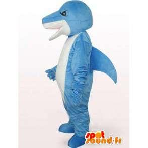 Mascotte de stégosaure bleu et blanc avec un air méchant - MASFR00759 - Mascottes Dinosaure