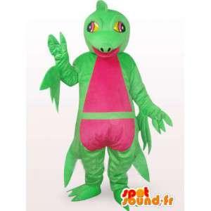 Komplexe Maskottchen grün und rosa Leguan - Dinosaurier-Kostüm