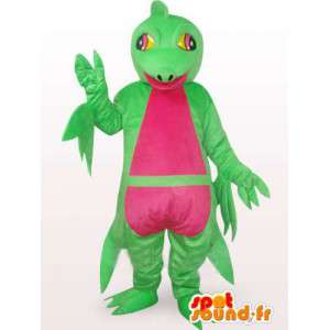 Mascotte complexe d'iguane vert et rose - Costume de dinosaure