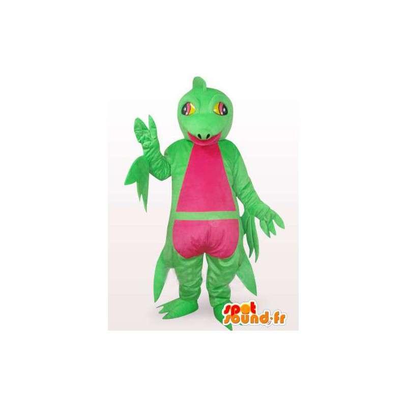 Komplexe Maskottchen grün und rosa Leguan - Dinosaurier-Kostüm - MASFR00762 - Maskottchen-Dinosaurier