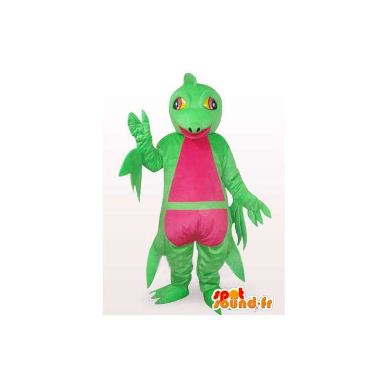 Mascot complex iguana green and pink - Dinosaur Costume - MASFR00762 - Mascots dinosaur