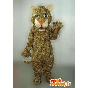 Mascotte de panthère rayée beige et marron avec tâche jaguar