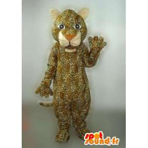 Panther-Maskottchen gestreift beige und braun Jaguar Aufgabe