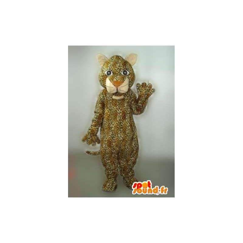Panther Mascot gestreept beige en bruin met jaguar taak - MASFR00763 - Tiger Mascottes