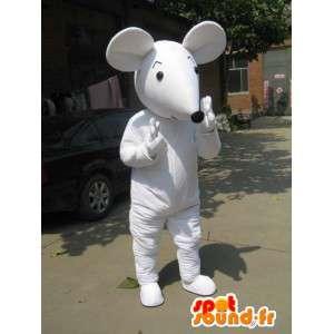 Mascotte de souris blanche style Mickey avec gants et chaussures