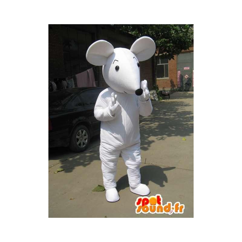 Mascotte de souris blanche style Mickey avec gants et chaussures - MASFR00764 - Mascotte de souris