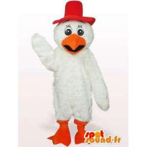 Krátký nízký kohout maskot v červené a oranžové peří
