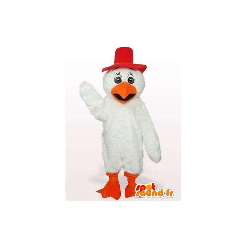 Gallo piuma Mascot breve bassa rosso e arancione - MASFR00766 - Mascotte di galline pollo gallo