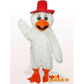 Kort lav hane maskoten i rødt og oransje fjær - MASFR00766 - Mascot Høner - Roosters - Chickens