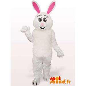 Mascot conejo blanco y rosa - Traje de grandes orejas