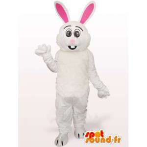 Mascotte de lapin blanc et rose - Costume à grandes oreilles