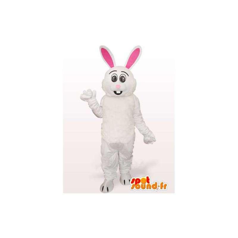 白とピンクのバニーマスコット - スーツ大きな耳 - MASFR00767 - マスコットのウサギ