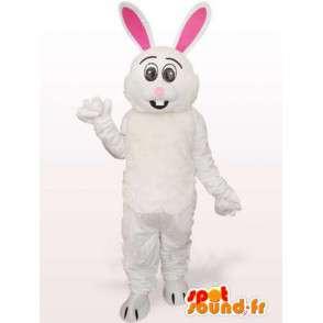 λευκό και ροζ λαγουδάκι μασκότ - κοστούμι μεγάλα αυτιά - MASFR00767 - μασκότ κουνελιών