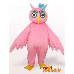 Mascotte gufo rosa con fiore blu sulla testa - Bird
