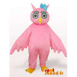 Roze Uil Mascot met blauwe bloem op het hoofd - Bird