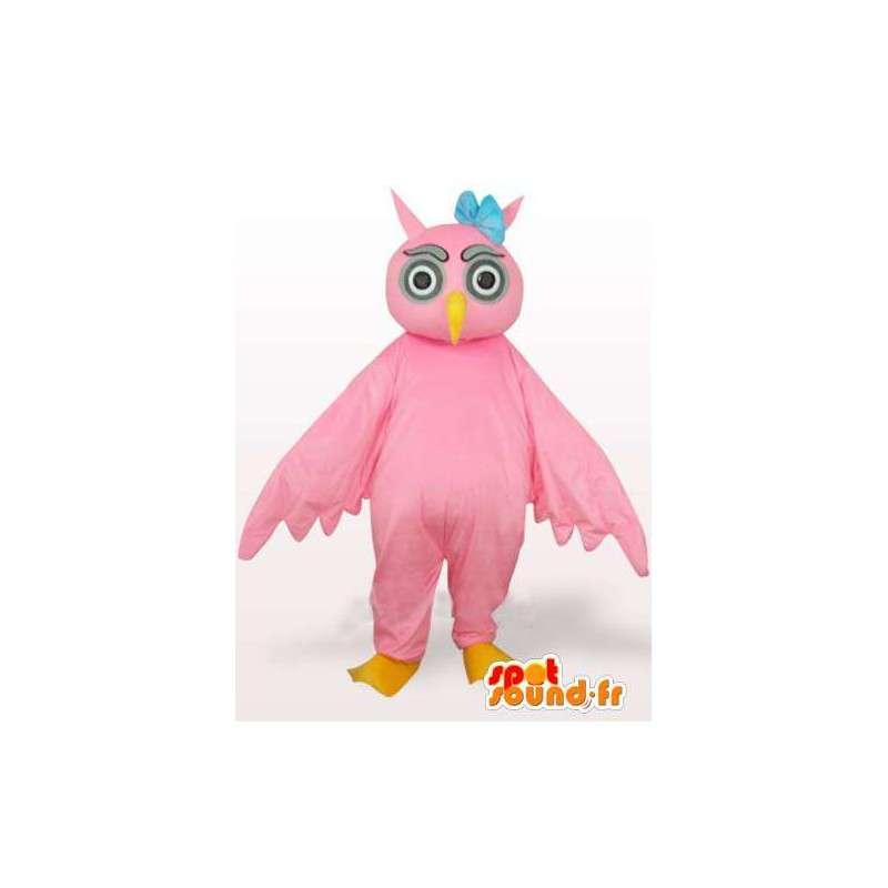 Mascotte gufo rosa con fiore blu sulla testa - Bird - MASFR00768 - Mascotte degli uccelli