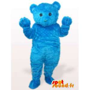 Blue teddy bear mascot while soft cotton fiber