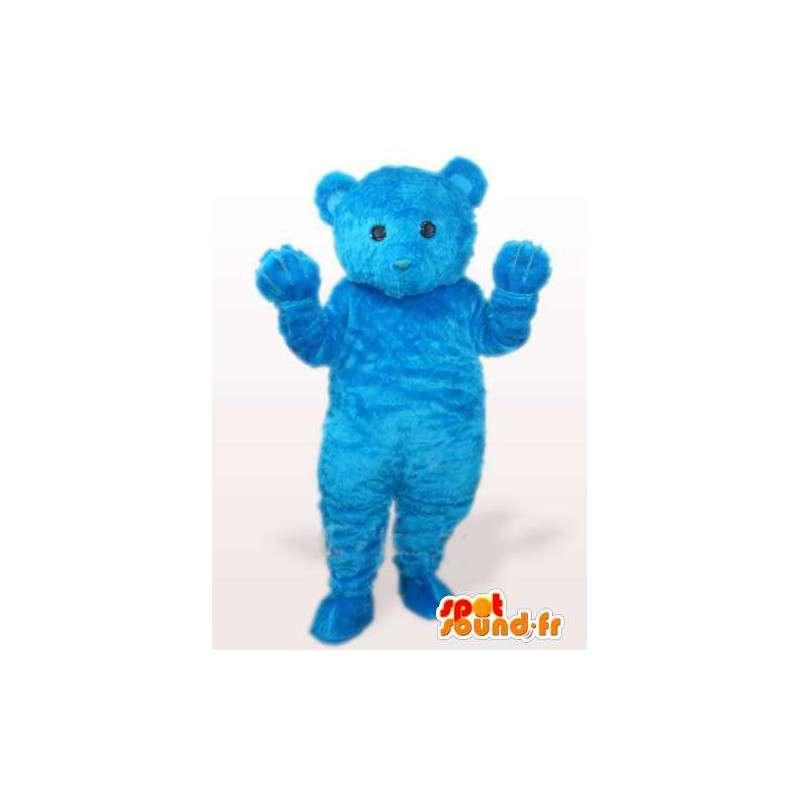 Mascotte ours en peluche bleu tout en fibre de coton tout doux - MASFR00769 - Mascotte d'ours