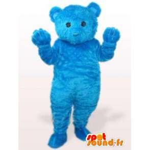 Blue teddy bear mascot while soft cotton fiber - MASFR00769 - Bear mascot