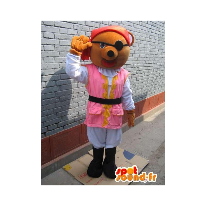 La mascota del oso del pirata: túnica rosada, sombrero rojo y parche en el ojo - MASFR00773 - Oso mascota