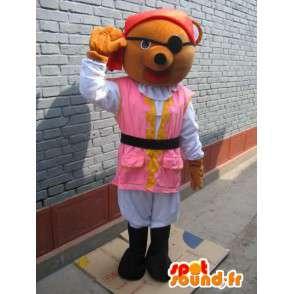Mascotte ours pirate: tunique rose, chapeau rouge et cache-œil - MASFR00773 - Mascotte d'ours