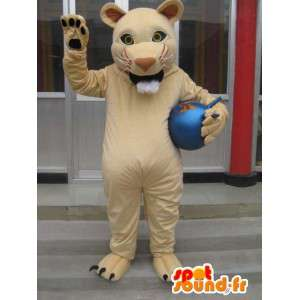 Tiger mascotte stijl beige leeuw savanne - pest Costume