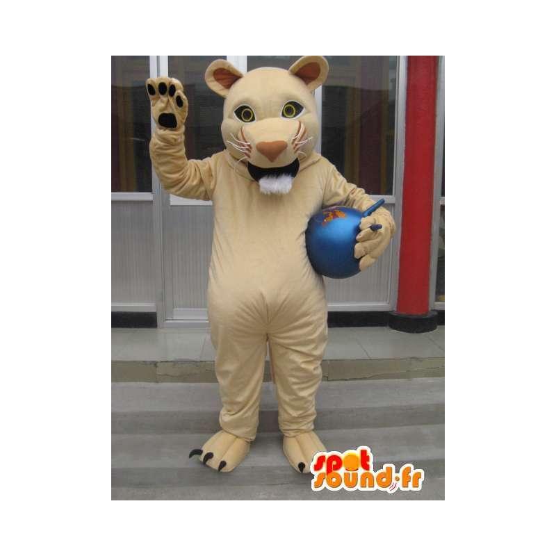 Mascotte tigre beige style lion des savanes - Costume ravageur - MASFR00777 - Mascottes Tigre
