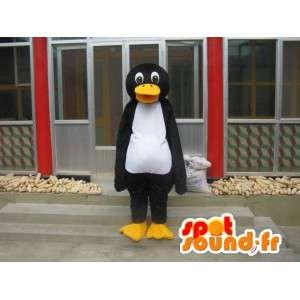 Linux pinguïn mascotte wit en geel zwart - passen Special
