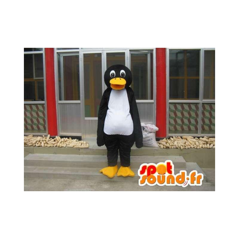 Mascotte de pingouin Linux noir blanc et jaune - Spécial costume - MASFR00778 - Mascottes Pingouin