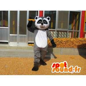 Mascotte raton laveur gris, noir et blanc - Costume de mammifère