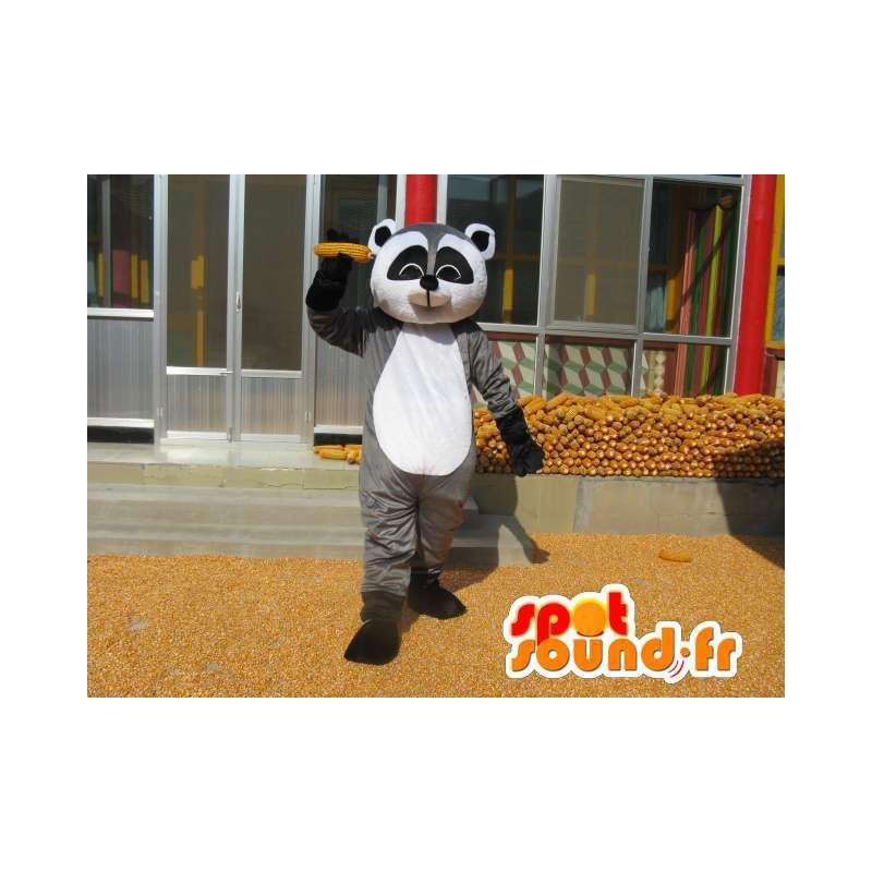 Raccoon Maskottchen grau schwarz und weiß - Kostüm Säugetier - MASFR00779 - Maskottchen von pups