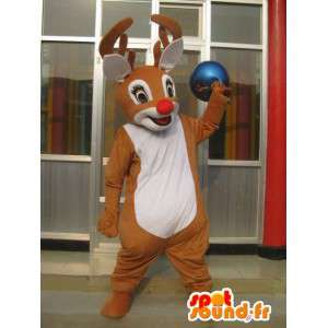 Mascotte de cerf des bois avec nez rouge - Costume petit Nicolas