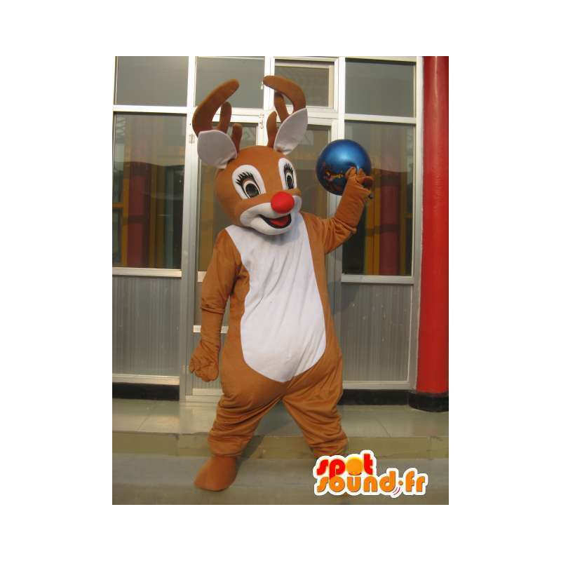 Mascot deer woods with red nose - Costume petit Nicolas - MASFR00780 - Mascots stag and DOE