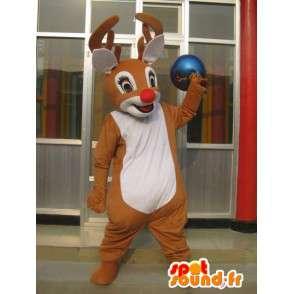 Mascotte de cerf des bois avec nez rouge - Costume petit Nicolas - MASFR00780 - Mascottes Cerf et Biche