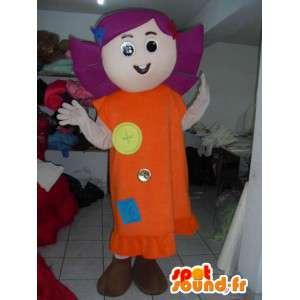 Mascotte fille de la campagne avec tissu en robe - Cheveux violets