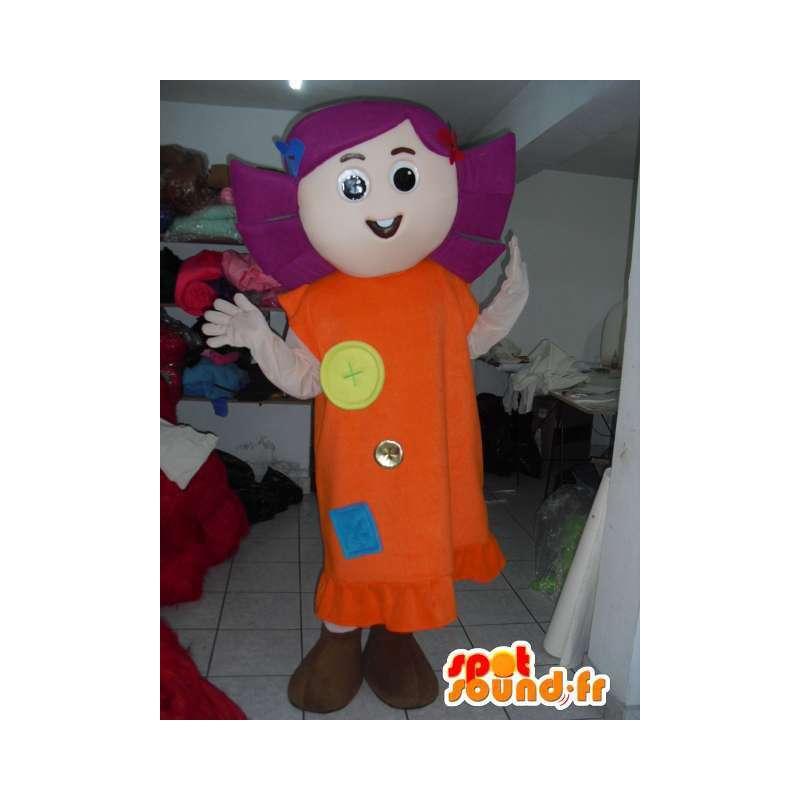 Mascotte ragazza di campagna con il vestito in tessuto - capelli viola - MASFR00781 - Ragazze e ragazzi di mascotte