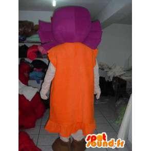 Mascotte fille de la campagne avec tissu en robe - Cheveux violets - MASFR00781 - Mascottes Garçons et Filles