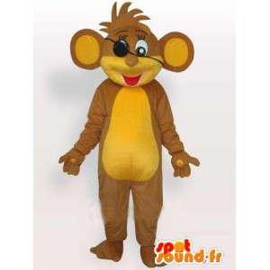 Mascotte d'écureuil pirate beige et jaune avec cheveux en pagaille