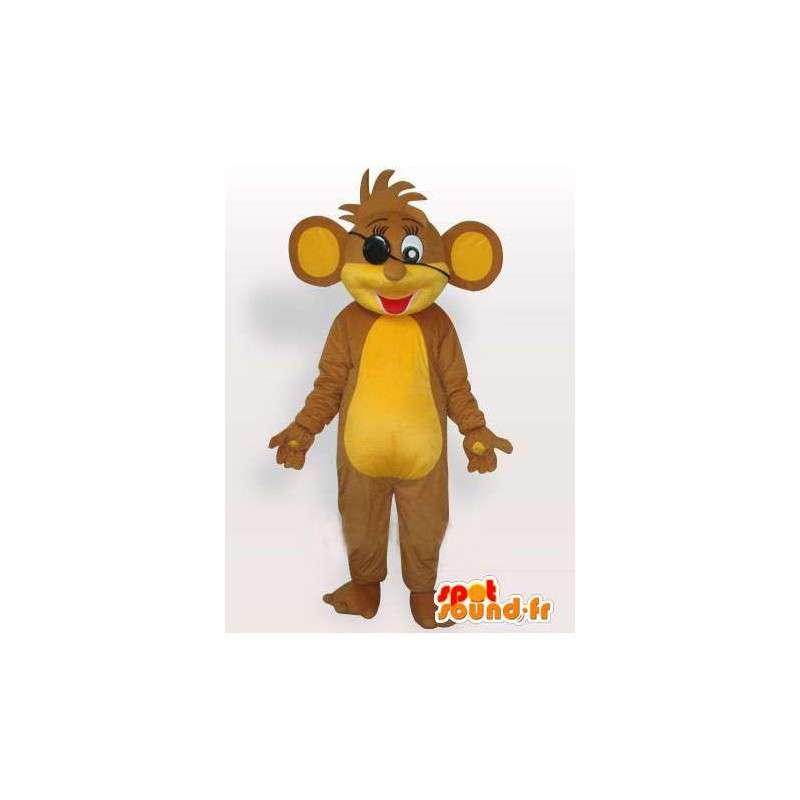 Mascotte d'écureuil pirate beige et jaune avec cheveux en pagaille - MASFR00782 - Mascottes Ecureuil