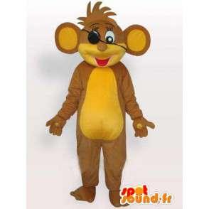 Μασκότ μπεζ και κίτρινο πειρατής σκίουρο με τα μαλλιά σε διαταραχή - MASFR00782 - μασκότ σκίουρος