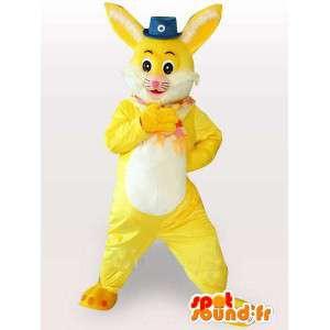 Mascotte de lapin jaune et blanc avec petit chapeau de cirque