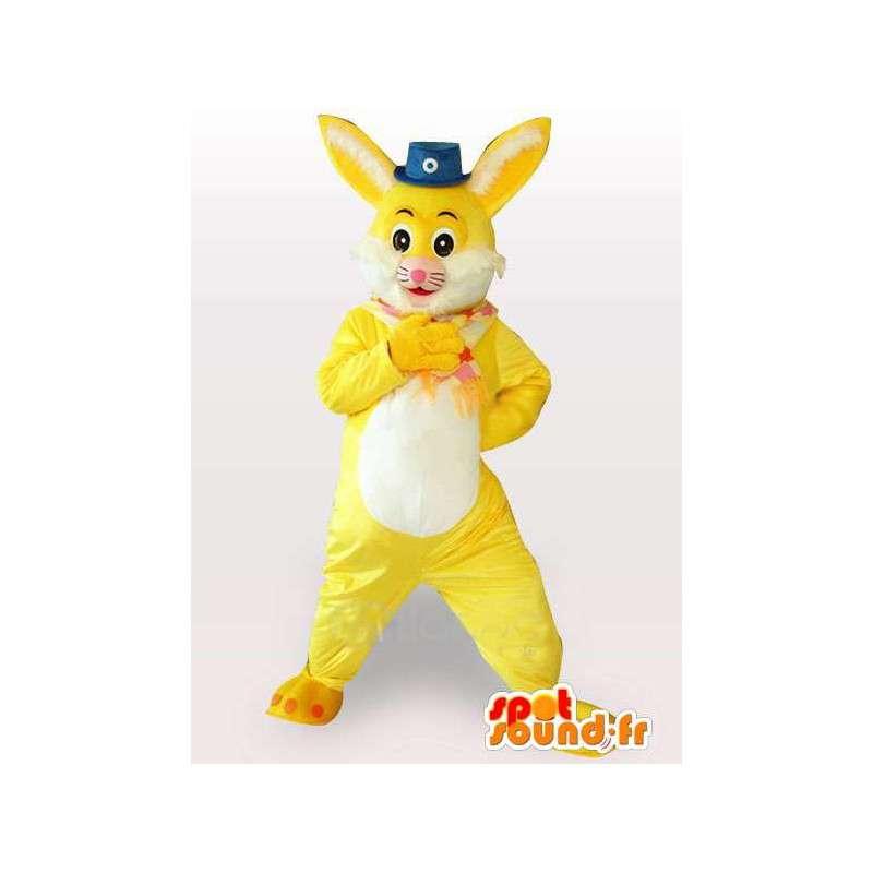 Rabbit mascot yellow and white with small hat circus - MASFR00783 - Rabbit mascot