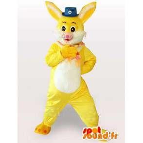 κίτρινο και λευκό λαγουδάκι μασκότ με μικρό καπέλο τσίρκο - MASFR00783 - μασκότ κουνελιών